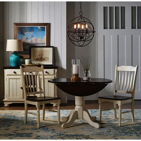 A-America British Isles 4 Piece Drop Leaf Dining Room Set w/Slat Chairs in Chalk-Cocoa Bean