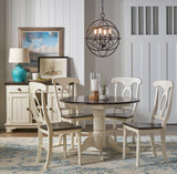 A-America British Isles 5 Piece Drop Leaf Dining Room Set in Chalk-Cocoa Bean