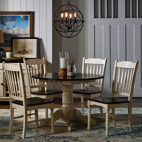 A-America British Isles 5 Piece Drop Leaf Dining Room Set w/Slat Chairs in Chalk-Cocoa Bean