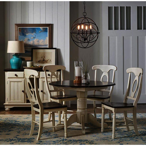A-America British Isles 6 Piece Drop Leaf Dining Room Set in Chalk-Cocoa Bean