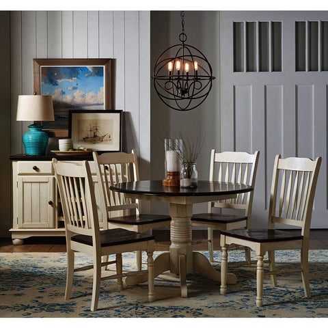 A-America British Isles 6 Piece Drop Leaf Dining Room Set w/Slat Chairs in Chalk-Cocoa Bean
