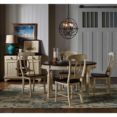 A-America British Isles 6 Piece Oval Leaf Dining Room Set in Chalk-Cocoa Bean