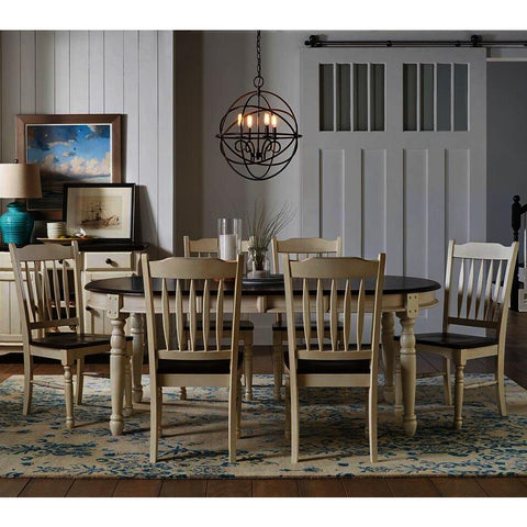 A-America British Isles 7 Piece Oval Leaf Dining Room Set w/Slat Chairs in Chalk-Cocoa Bean