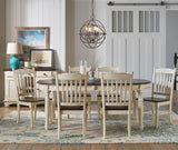 A-America British Isles 7 Piece Oval Leaf Dining Room Set in Chalk-Cocoa Bean