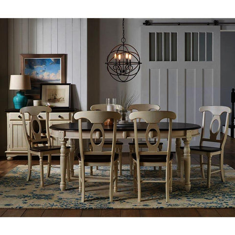 A-America British Isles 8 Piece Oval Leaf Dining Room Set in Chalk-Cocoa Bean