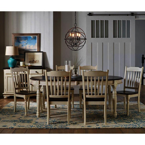 A-America British Isles 8 Piece Oval Leaf Dining Room Set w/Slat Chairs in Chalk-Cocoa Bean