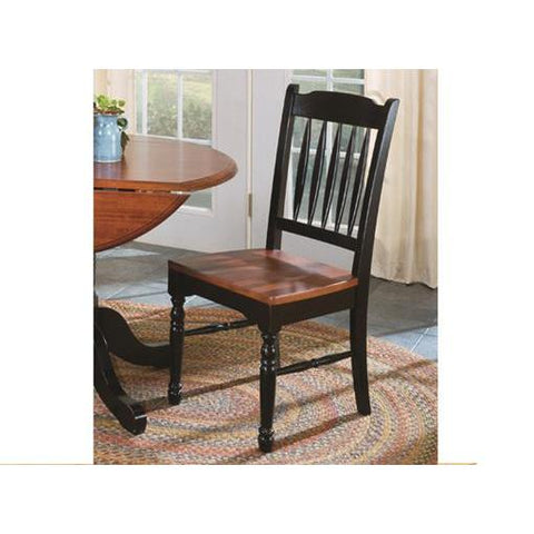A-America British Isles Slatback Side Chair, Oak-Black Finish