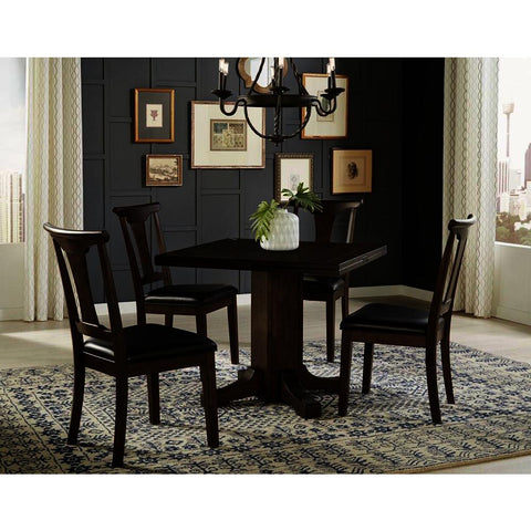 A-America Brooklyn Heights 5 Piece Drop Leaf Dining Room Set w/T-Back Chairs in Warm Grey