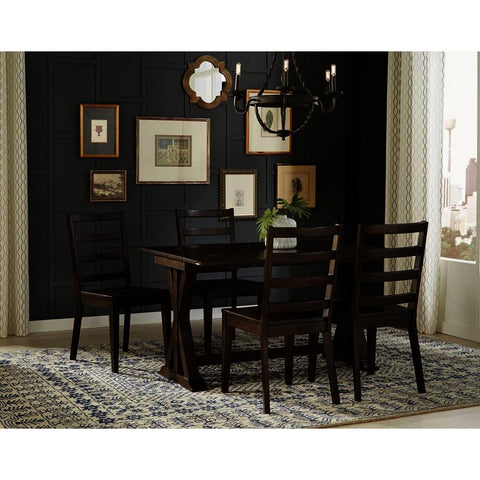 A-America Brooklyn Heights 5 Piece Flip Top Dining Room Set w/Ladder Back Chairs in Warm Grey