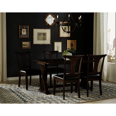 A-America Brooklyn Heights 5 Piece Flip Top Dining Room Set w/T-Back Chairs in Warm Grey