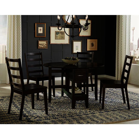 A-America Brooklyn Heights 5 Piece Gate Leaf Dining Room Set in Warm Grey