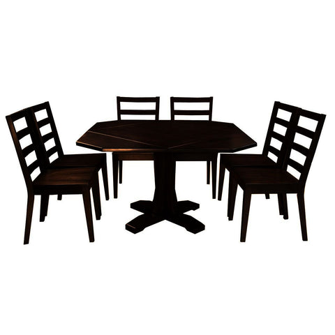 A-America Brooklyn Heights 7 Piece Drop Leaf Dining Room Set in Warm Grey