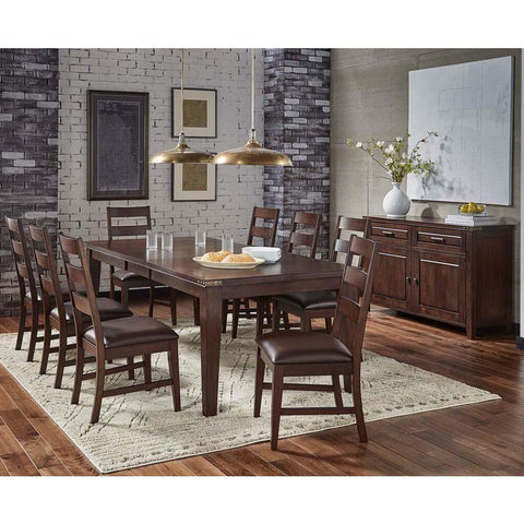 A-America Carter 10 Piece Leg Dining Room Set in Rich Tobacco