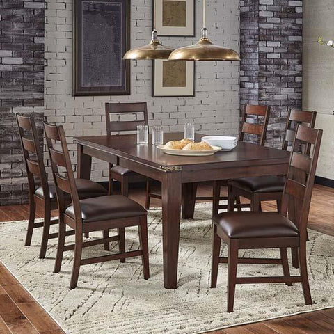 A-America Carter 7 Piece Leg Dining Room Set in Rich Tobacco