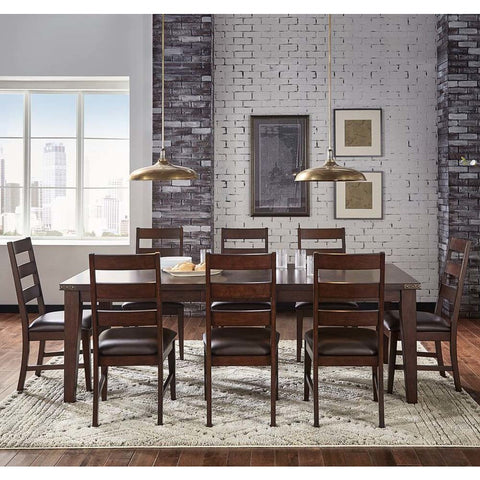 A-America Carter 9 Piece Leg Dining Room Set in Rich Tobacco