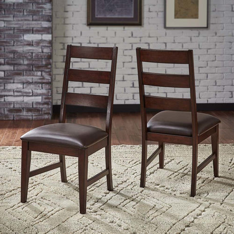 A-America Carter Ladderback Side Chair w/Upholstered Seating in Rich Tobacco