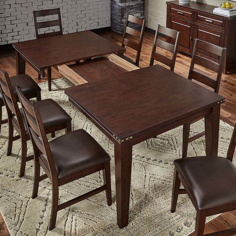 A-America Carter Rectanglar Leg Dining Table w/Self-Storing Leaf in Rich Tobacco