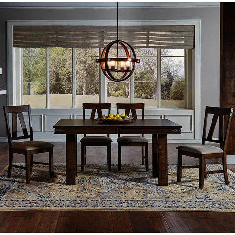 A-America Eastwood 5 Piece Trestle Dining Room Set w/Butterfly Leaf in Rich Tobacco