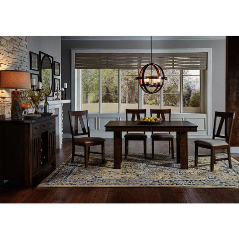 A-America Eastwood 6 Piece Trestle Dining Room Set w/Butterfly Leaf in Rich Tobacco