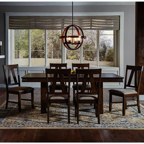 A-America Eastwood 7 Piece Trestle Dining Room Set w/Butterfly Leaf in Rich Tobacco