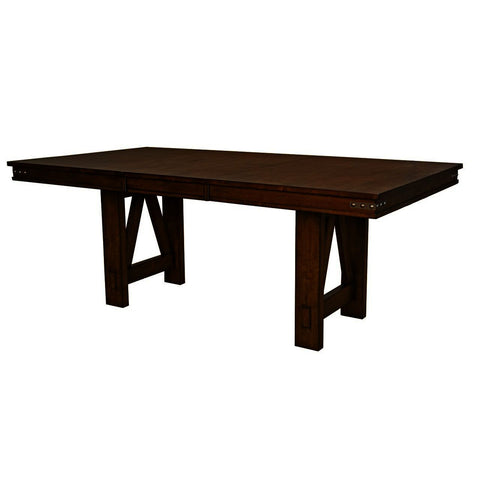 A-America Eastwood 78 Inch Trestle Dining Table w/Butterfly Leaf in Rich Tobacco