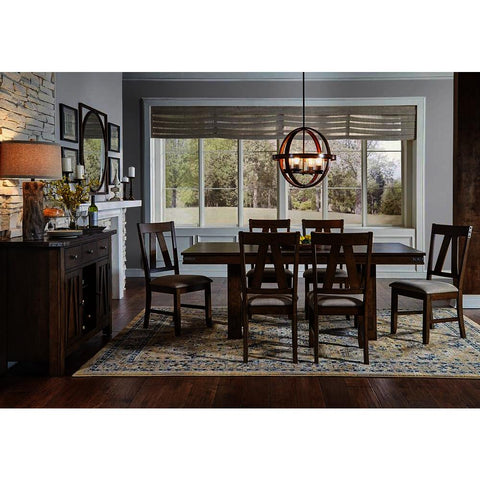 A-America Eastwood 8 Piece Trestle Dining Room Set w/Butterfly Leaf in Rich Tobacco