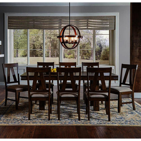 A-America Eastwood 9 Piece Trestle Dining Room Set w/Butterfly Leaf in Rich Tobacco