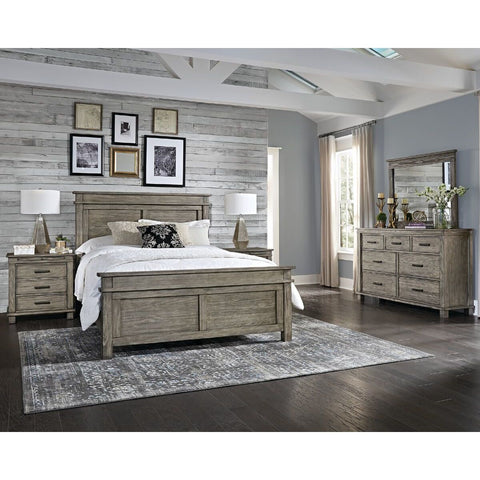 A-America Glacier Point 4 Piece Panel Bedroom Set in Greystone