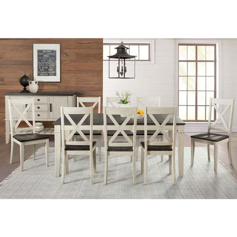 A-America Huron 10 Piece Leg Dining Room Set in Cocoa-Chalk