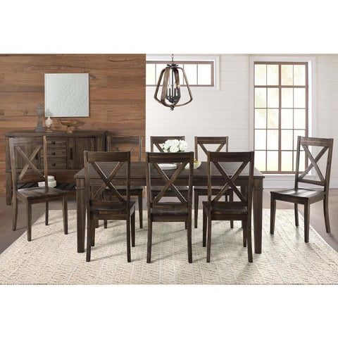 A-America Huron 10 Piece Leg Dining Room Set in Weathered Russet