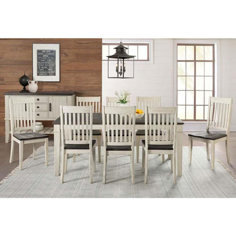 A-America Huron 10 Piece Leg Dining Room Set w/Slat Chairs in Cocoa-Chalk