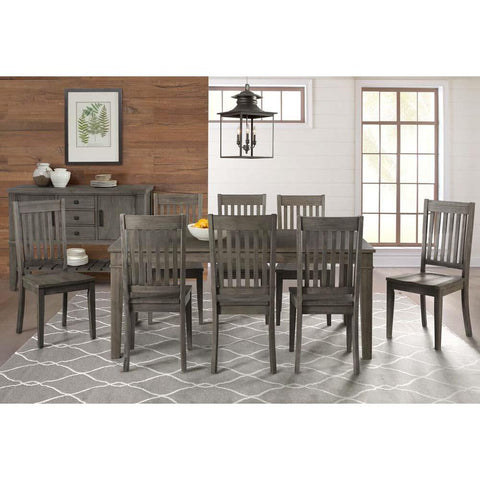 A-America Huron 10 Piece Leg Dining Room Set w/Slatback Chairs in Distressed Grey