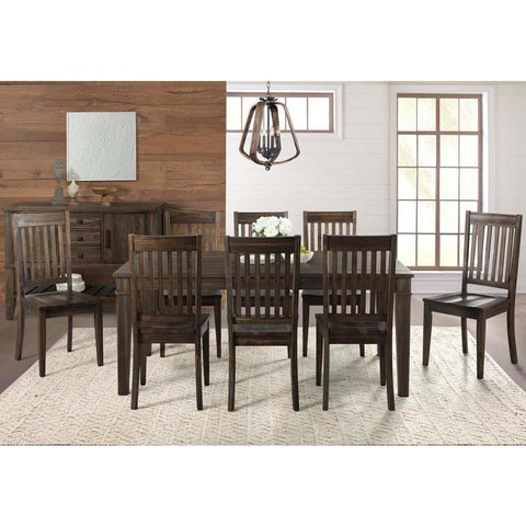 A-America Huron 10 Piece Leg Dining Room Set w/Slatback Chairs in Weathered Russet