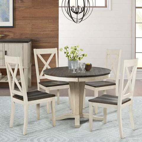 A-America Huron 5 Piece Pedestal Dining Room Set in Cocoa-Chalk