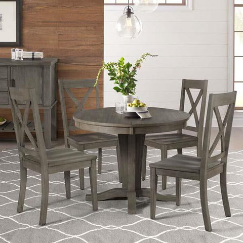 A-America Huron 5 Piece Pedestal Dining Room Set in Distressed Grey
