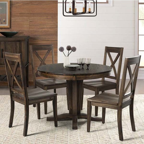 A-America Huron 5 Piece Pedestal Dining Room Set in Weathered Russet