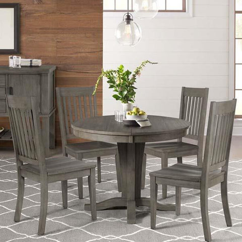 A-America Huron 5 Piece Pedestal Dining Room Set w/Slatback Chairs in Distressed Grey