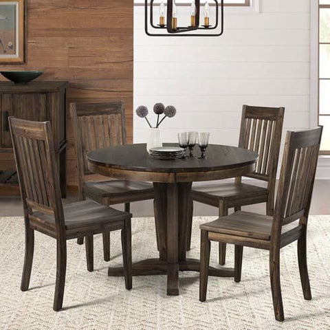 A-America Huron 5 Piece Pedestal Dining Room Set w/Slatback Chairs in Weathered Russet