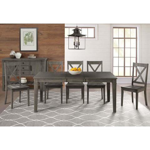 A-America Huron 6 Piece Leg Dining Room Set in Distressed Grey