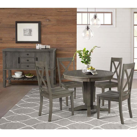 A-America Huron 6 Piece Pedestal Dining Room Set in Distressed Grey