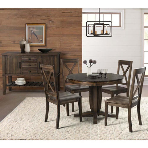 A-America Huron 6 Piece Pedestal Dining Room Set in Weathered Russet