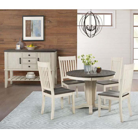 A-America Huron 6 Piece Pedestal Dining Room Set w/Slat Chairs in Cocoa-Chalk