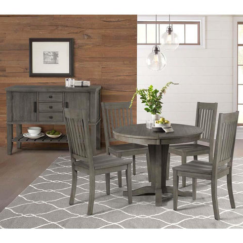 A-America Huron 6 Piece Pedestal Dining Room Set w/Slatback Chairs in Distressed Grey