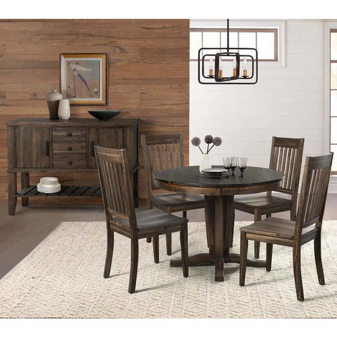 A-America Huron 6 Piece Pedestal Dining Room Set w/Slatback Chairs in Weathered Russet