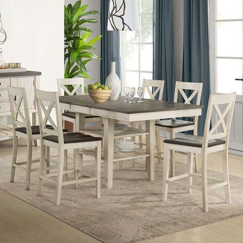 A-America Huron 7 Piece Gather Height Table Set in Cocoa-Chalk