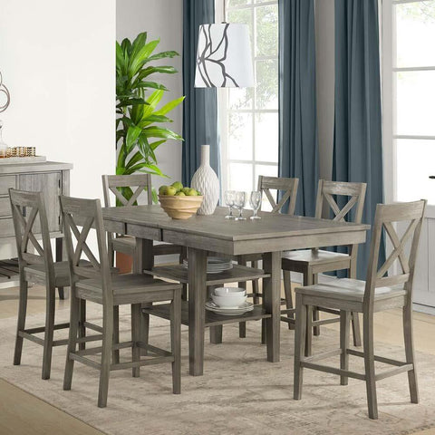 A-America Huron 7 Piece Gather Height Table Set in Distressed Grey