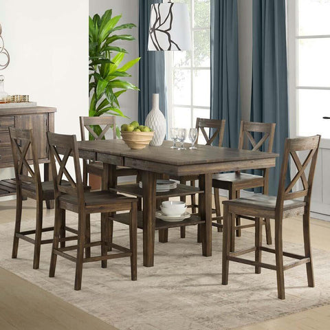 A-America Huron 7 Piece Gather Height Table Set in Weathered Russet