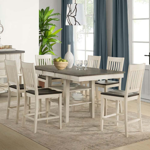 A-America Huron 7 Piece Gather Height Table Set w/Slat Barstools in Cocoa-Chalk
