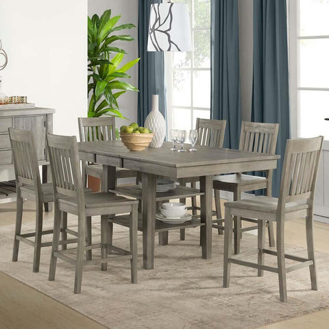 A-America Huron 7 Piece Gather Height Table Set w/Slatback Barstools in Distressed Grey