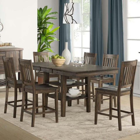 A-America Huron 7 Piece Gather Height Table Set w/Slatback Barstools in Weathered Russet